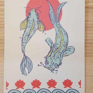 Postkarte Koi Fische