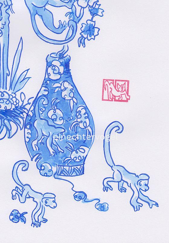 Affenvase Bild Nummer 1 Detailansicht von Affen