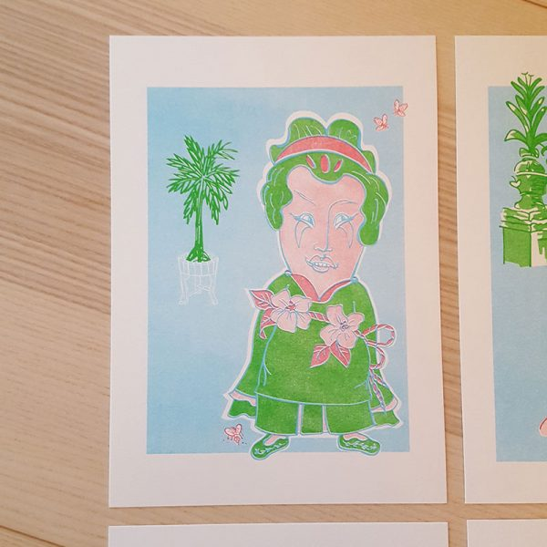 Risographie Druck Frau Im Palmengarten