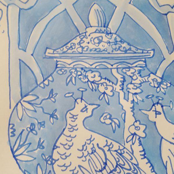 original Deckelvase mit Pfau