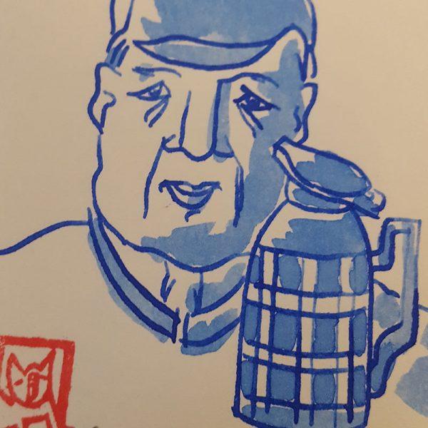 Original Portrait mit Thermoskanne Detail