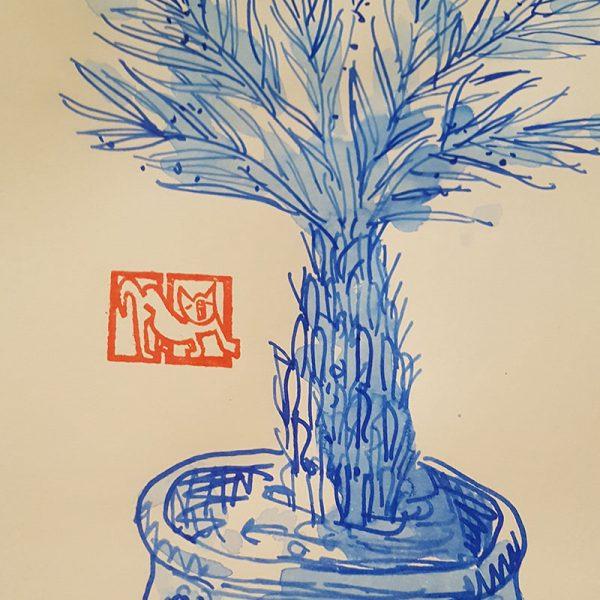 Zeichnung Palme im Topf Detailansicht