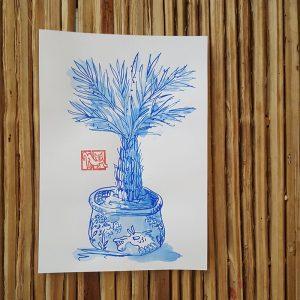Zeichnung Palme im Topf