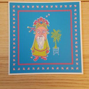 Quadratische Postkarte Mann im Palmengarten