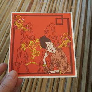 Quadratische Postkarte Tigerblume