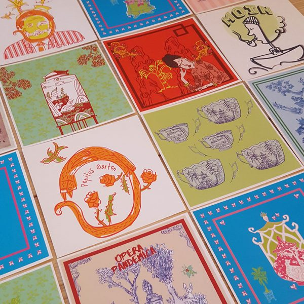 Auswahl vieler quadratischer Postkarte